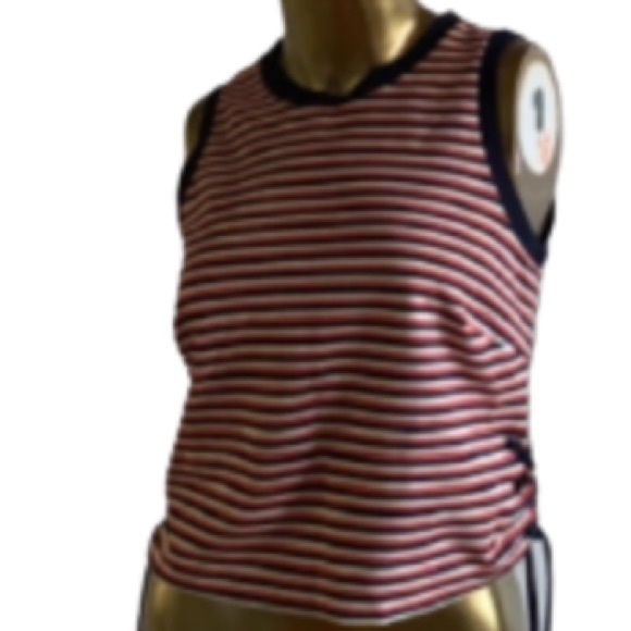 & Other stories striped red,white,blue laceup tank